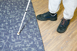 Contrasting floor texture and colour helps people with visual impairments move around an area,
