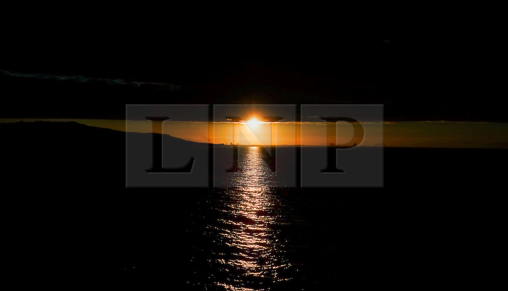 © Licensed to London News Pictures.06/08/15<br /> Saltburn, UK. <br /> <br /> Cloud sits over the coast at sunset at Saltburn by the Sea in Cleveland. <br /> <br /> Photo credit : Ian Forsyth/LNP