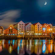 www.aziznasutiphotography.com                   Brygga from Trondheim with Moon on top