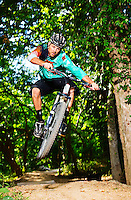 Nathan Woodruff and Chris Crone of Progressive Trail Design riding the All American Trail around Crystal Bridges Museum of American Art in Bentonville, Arkansas.<br /> Photo by Wesley Hitt