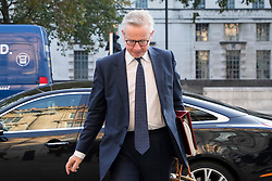 © Licensed to London News Pictures. 22/09/2020. London, UK. Chancellor of the Duchy of Lancaster Michael Gove arrives at the Cabinet Office. Later today the Prime Minister will address the nation . Photo credit: George Cracknell Wright/LNP