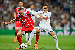 May 2, 2018 - Madrid, Spain - MADRID, SPAIN. May 1, 2018 - Ribery and Lucas Vazquez. With a 2-2 draw against Bayern Munchen, Real Madrid made it to the UEFA Champions League Final for third time in a row. Kimmich and James scored for the german squad while Karim Benzema did it twice for los blancos. Goalkeeper Keylor Navas had a great night with several decisive interventions. (Credit Image: © VW Pics via ZUMA Wire)