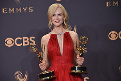 Actor Nicole Kidman, winner of Outstanding Lead Actress in a Limited Series or Movie and Outstanding Limited Series for 'Big Little Lies', poses in the press room during the 69th Annual Primetime Emmy Awards held at the Microsoft Theater on September 17, 2017 in Los Angeles, CA, USA (Photo by Sthanlee B. Mirador/Sipa USA)