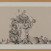 """Title: Feed 'Em To The Dogs, Roy<br /> Artist: Zachary Bobkoff<br /> Date: 2015 <br /> Medium: Lithography<br /> Dimensions: 27.25 x 20.25""""<br /> Instructor: Terri Goodhue<br /> Status: On Display<br /> Location: Art & Digital Media Office Suite<br /> Highland Campus HLC4 Bldg 4000, Room 2110"""