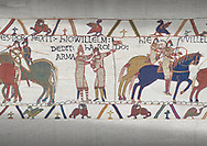 Bayeux Tapestry scene 21 : Duke William knights Harold for fighting against Duke of Britany. .<br /> <br /> If you prefer you can also buy from our ALAMY PHOTO LIBRARY  Collection visit : https://www.alamy.com/portfolio/paul-williams-funkystock/bayeux-tapestry-medieval-art.html  if you know the scene number you want enter BXY followed bt the scene no into the SEARCH WITHIN GALLERY box  i.e BYX 22 for scene 22)<br /> <br />  Visit our MEDIEVAL ART PHOTO COLLECTIONS for more   photos  to download or buy as prints https://funkystock.photoshelter.com/gallery-collection/Medieval-Middle-Ages-Art-Artefacts-Antiquities-Pictures-Images-of/C0000YpKXiAHnG2k