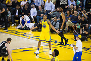 Golden State Warriors forward David West (3) reacts to a foul called against him during a NBA game against the Milwaukee Bucks at Oracle Arena in Oakland, Calif., on March 29, 2018. (Stan Olszewski/Special to S.F. Examiner)