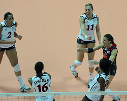 28-08-2010 VOLLEYBAL: WGP FINAL CHINA - USA: BEILUN NINGBO<br /> USA power beat China in straight sets / Alisha Glass, Jordan Larson, Stacy Sykora<br /> ©2010-WWW.FOTOHOOGENDOORN.NL