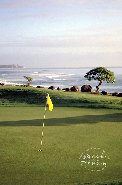 Hawaii, Kauai, oceanfront golf green at dawn