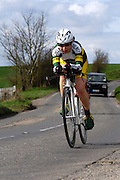 United Kingdom, Finchingfield, Mar 27, 2010:  Ann Shuttleworth, Chelmer CC, approaches the 4 miles to go marker during the 2010 edition of the 'Jim Perrin' Memorial Hardriders 25.5 mile Sporting TT promoted by Chelmer Cycling Club. Copyright 2010 Peter Horrell.