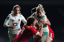 Rachael Burford of England takes on the Canada defence - Mandatory byline: Patrick Khachfe/JMP - 07966 386802 - 26/11/2016 - RUGBY UNION - Twickenham Stadium - London, England - England Women v Canada Women - Old Mutual Wealth Series.