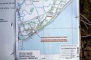 Ordnance Survey map warning of footpath closure due to coastal erosion, Bawdsey, Suffolk, England