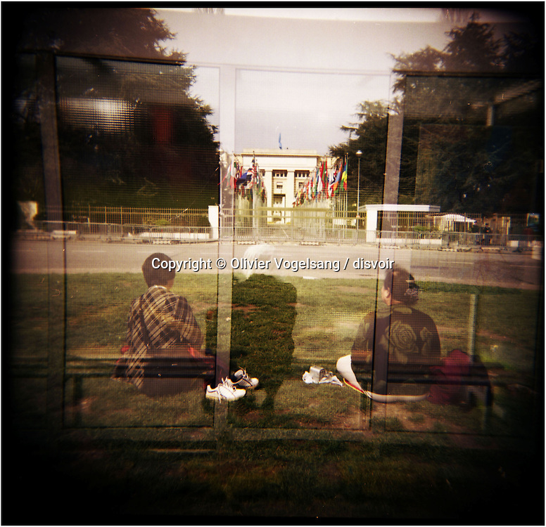 Switzerland. Geneva. Silent protest, meditation on the place of Nations in front of the siege of the United Nations.
