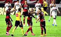 SAO PAULO, BRAZIL - FEBRUARY 25: Gerson ,Gabriel Barbosa and Everton Ribeiro of CR Flamengo argues with Rodolpho Toski Brasilian Referee ,during the Brasileirao Serie A 2020 match between Sao Paulo FC and CR Flamengo at Morumbi Stadium on February 25, 2021 in Sao Paulo, Brazil. (Photo by MB Media/BPA)