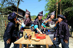 April 18, 2018 - Rongjiang, Rongjiang, China - Rongjiang, CHINA-18th April 2018: People of Miao ethnic minority celebrate traditional Grass Men Festival in Rongjiang, southwest China's Guizhou Province. (Credit Image: © SIPA Asia via ZUMA Wire)