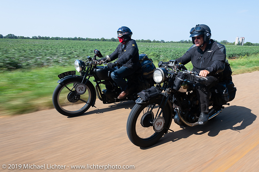 Larry Luce (L) and Todd Cameron riding their antique British bikes in the Cross Country Chase motorcycle endurance run from Sault Sainte Marie, MI to Key West, FL. (for vintage bikes from 1930-1948). Stage-7 covered 249 miles from Macon, GA to Tallahassee, FL USA. Thursday, September 12, 2019. Photography ©2019 Michael Lichter.