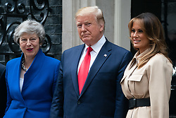 © Licensed to London News Pictures. 04/06/2019. London, UK. The President of the United States of America Donald Trump and the First Lady of the United States Melania Trump meet British Prime Minister Theresa May in Downing Street as part of Trump's state visit to the United Kingdom. Photo credit : Tom Nicholson/LNP