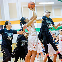 Valencia Jaguar Monique Baca (23), left, attempts a layup as  Thoreau Hawk Jalena Begay (12) attempt to swipe the ball away during the Wingate Holiday Classic girls basketball tournament at Wingate High School Friday.