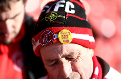 Close up of a Fleetwood Town fan's hat before the game