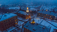 Cupolas around the campus are lit up in celebration of Charter Day, Mar. 5, 2019 in Hamilton, N.Y.<br /> Mark DiOrio / Colgate University