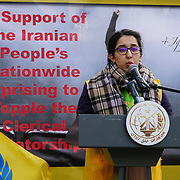 People's Mojahedin Organization Of Iran hosts a protest against the President of Iran Hassan Rouhani against crackdown of protesters in Iran and 20 killed thousands taken to jail. Demand UK to stop trade with the Iran regime on 4th January 2018.