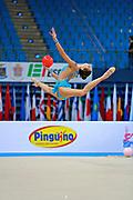 Harutyunyan Lilit during qualifying at ball in Pesaro World Cup 10 April 2015. Lilit is an Armenian rhythmic gymnastics athlete born  May 5, 1995 in Erevan,  Armenia.