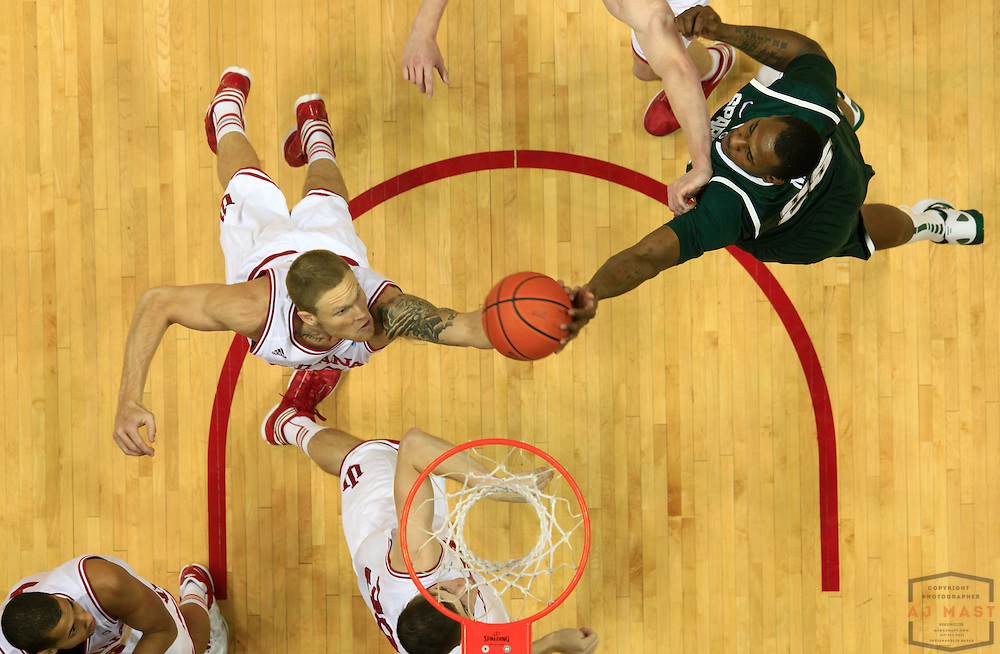 28 February 2012: Indiana Forward Derek Elston (32)  as the Indiana Hoosiers played the Michigan State Spartans in a college basketball game in Bloomington, Ind.