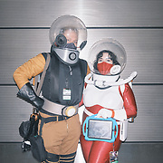 Sara Morabito and Chris Knowles dress up as Atomic Punk Explorers at the 2021 New York Comic Con at the Javits Center in Manhattan, New York on Thursday, October 7, 2021. John Taggart for The New York Times