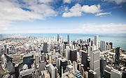 Aerial view of Chicago skyline featuring unique view of commercial real estate in downtown.