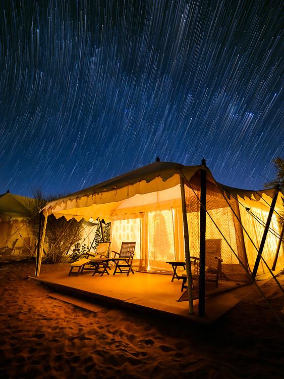 DECHU, INDIA - CIRCA NOVEMBER 2018: Tent at night in the Manvar desert camp of Dechu in Rajasthan.