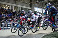 #122 (TOUGAS Alex) CAN at Round 2 of the 2019 UCI BMX Supercross World Cup in Manchester, Great Britain