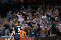 February 23, 2019 - Melbourne, VIC, U.S. - MELBOURNE, VIC - FEBRUARY 23: Melbourne Victory forward Kosta Barbarouses (9) celebrates in front of fans as he scores at round 20 of the Hyundai A-League Soccer between Melbourne City FC and Melbourne Victory on February 23, 2019 at Marvel Stadium, VIC. (Photo by Speed Media/Icon Sportswire) (Credit Image: © Speed Media/Icon SMI via ZUMA Press)