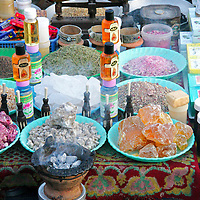 North Africa, Africa, Morocco, Marrakesh. Soaps and perfumes set up in the Djeema el Fna square.