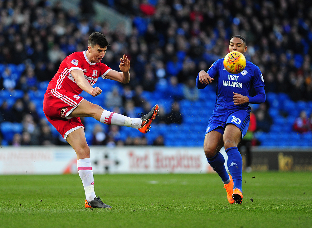Middlesbrough's Daniel Ayala<br /> <br /> Photographer Ashley Crowden/CameraSport<br /> <br /> The EFL Sky Bet Championship - Cardiff City v Middlesbrough - Saturday 17th February 2018 - Cardiff City Stadium - Cardiff<br /> <br /> World Copyright © 2018 CameraSport. All rights reserved. 43 Linden Ave. Countesthorpe. Leicester. England. LE8 5PG - Tel: +44 (0) 116 277 4147 - admin@camerasport.com - www.camerasport.com