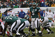 PHILADELPHIA - DECEMBER 9: Donovan McNabb #5 of the Philadelphia Eagles checks with a receiver before a play during the game against the New York Giants on December 9, 2007 at Lincoln Financial Field in Philadelphia, Pennsylvania. The Giants won 16-13.