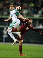 Fotball , 18. mars 2010<br /> Europa League <br /> VFL Wolfsburg - Rubin Kasan<br /> v.l. Peter Pekarik , Goekdeniz Karadeniz Rubin<br /> <br /> Norway only
