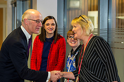 Pictured: John Swinney was welcomed to the school by Head teacher Louise Cook and colleagues<br /> Today Deputy First Minister John Swinney visited Niddrie Mill Primary School to announce the publication of Scottish school statistics such as teacher numbers, ratios and class sizes. <br /> <br /> <br /> Ger Harley   EEm 12 December 2017