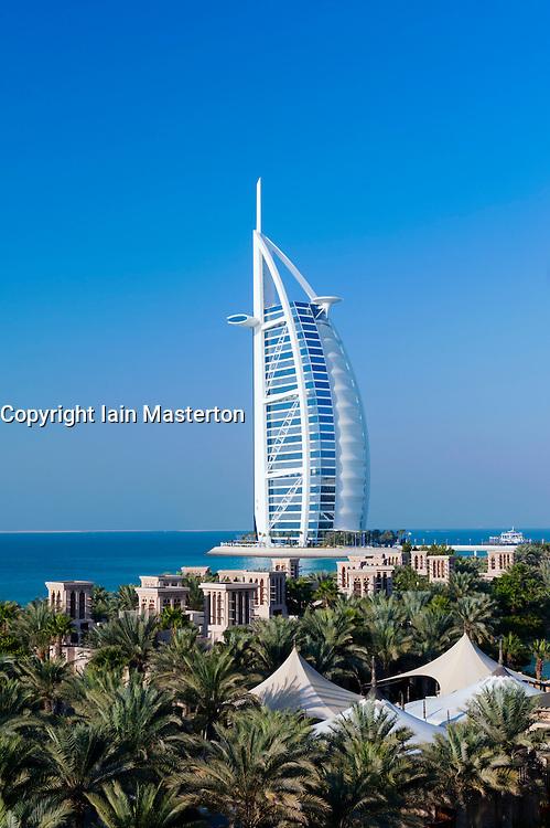 View of Burj al Arab hotel from Madinat Jumeirah hotels in Dubai in United Arab Emirates