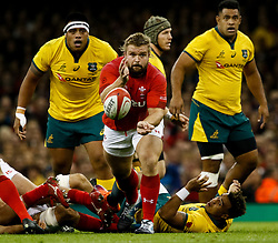 Tomas Francis of Wales gets the ball away<br /> <br /> Photographer Simon King/Replay Images<br /> <br /> Under Armour Series - Wales v Australia - Saturday 10th November 2018 - Principality Stadium - Cardiff<br /> <br /> World Copyright © Replay Images . All rights reserved. info@replayimages.co.uk - http://replayimages.co.uk