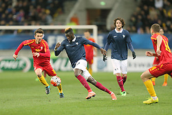 28.03.2016, Stade Mmarena, Le Mans, FRA, UEFA U21 Euro Qualifikation, Frankreich vs Mazedonien, Gruppe 3, im Bild babunski david, bakayoko tiemoue // during the UEFA U21 Euro qualifier group 3 match between France and Macedonia at the Stade Mmarena in Le Mans, France on 2016/03/28. EXPA Pictures © 2016, PhotoCredit: EXPA/ Pressesports/ Vincent Michel<br /> <br /> *****ATTENTION - for AUT, SLO, CRO, SRB, BIH, MAZ, POL only*****