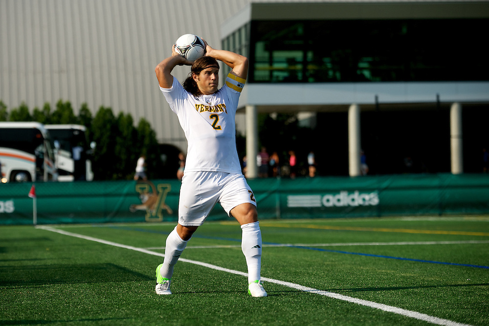 Catamounts defenseman Sean Sweeney (2) throws the ball in bounds during the men's soccer game between the Central Connecticut State University Blue Devils and the Vermont Catamounts at Virtue Field on Friday afternoon September 7, 2012 in Burlington, Vermont.