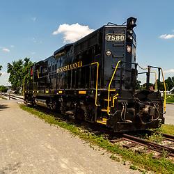 New Freedom, PA – June 25, 2016: A black PRR diesel locomotive on display at the Steam into History museum in New Freedom.