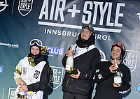Snowboard / Snøbrett<br /> Foto: Gepa/Digitalsport<br /> NORWAY ONLY<br /> <br /> INNSBRUCK,AUSTRIA,06.FEB.16 - SNOWBOARD - Air and Style, award ceremony. Image shows Sebastien Toutant (CAN), Marcus Kleveland (NOR) and Torgeir Bergrem (NOR).