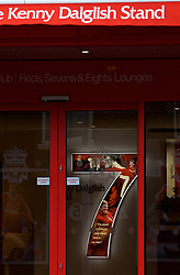 LIVERPOOL, ENGLAND - Friday, October 13, 2017: A red seven in the foyer of the Centenary Stand on the day it's renamed the Kenny Dalglish Stand. (Pic by David Rawcliffe/Propaganda)