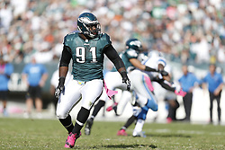 Philadelphia Eagles defensive tackle Fletcher Cox (91) during the NFL game between the Detroit Lions and the Philadelphia Eagles on Sunday, October 14th 2012 in Philadelphia. The Lions won 26-23 in Overtime. (Photo by Brian Garfinkel)