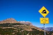 Steep grade sign on Molas Pass near Silverton, San Juan National Forest, Colorado USA