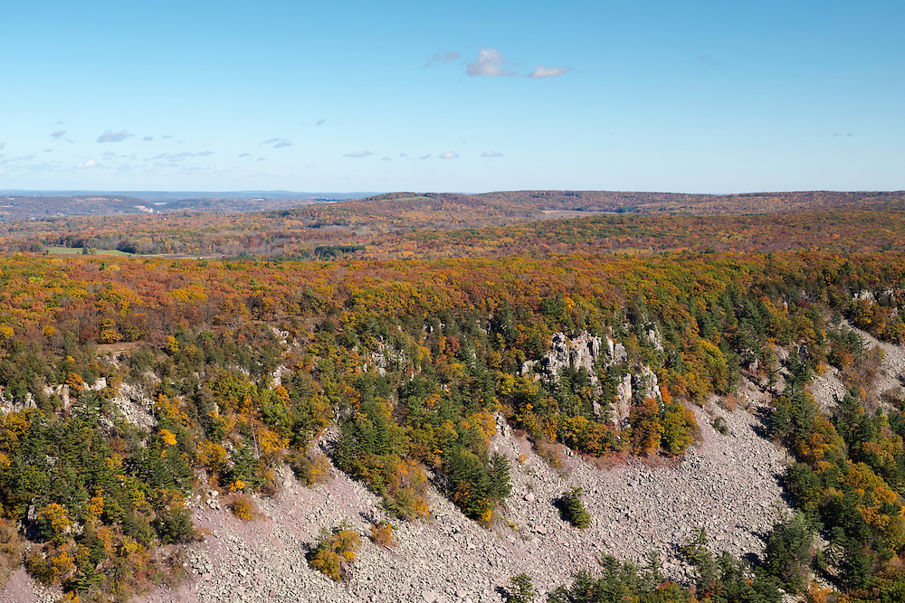 Aerial view of of the South Bluff at Devil's Lake State Park near Baraboo, WIsconsin.