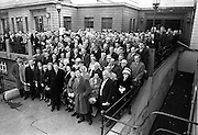 Delegates to the Fianna Fail Ard Fheis pictured outside the Mansion House after the morning session. An Taoiseach Sean Lemass is centre, front.  .20.11.1962