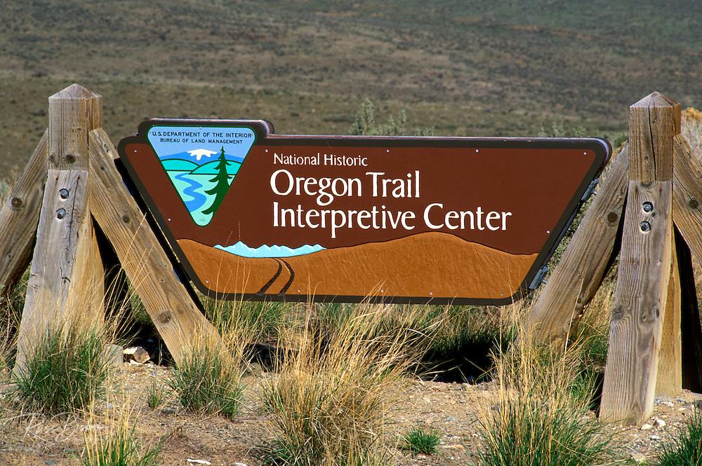 Entrance sign at the National Historic Oregon Trail Interpretive Center, Baker City, Oregon