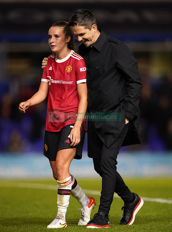 Manchester United head coach Marc Skinner (right) speaks to Manchester United's Ella Toone at Half time during the FA Women's Super League match at St. Andrew's, Birmingham. Picture date: Sunday October 3, 2021.
