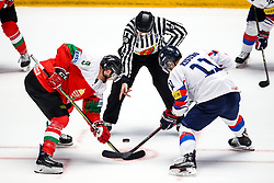 Andras Benk of Hungary vs Kisung Kim of Korea during ice hockey match between Hungary and Korea at IIHF World Championship DIV. I Group A Kazakhstan 2019, on April 29, 2019 in Barys Arena, Nur-Sultan, Kazakhstan. Photo by Matic Klansek Velej / Sportida